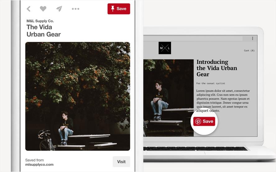 """""""Save"""" (сохранение) - одна из функций Pinterest на ПК"""